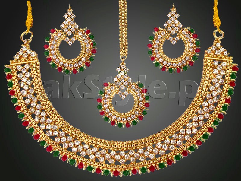 Multicolor Gemstones Golden Jewellery Set Price in Pakistan