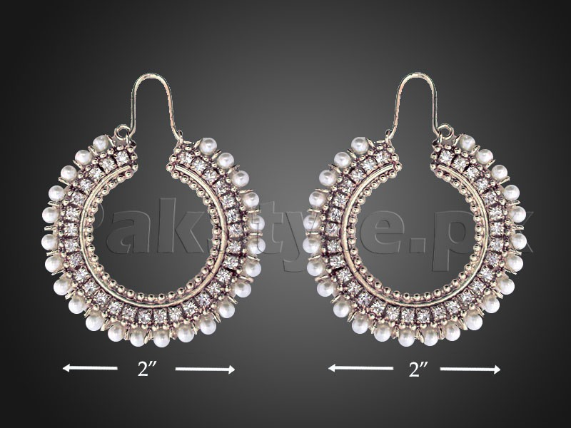Elegant Pearls Silver Earrings Price in Pakistan
