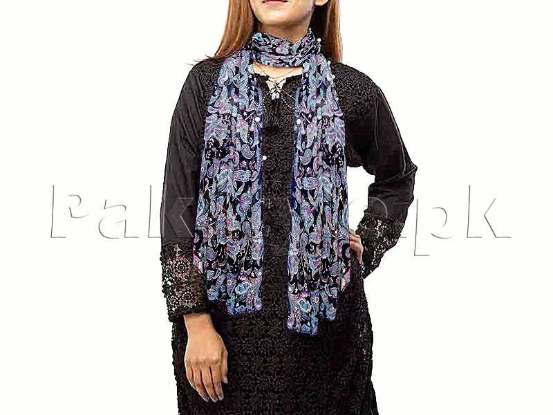 Multicolor Printed Net Scarf with Pearls