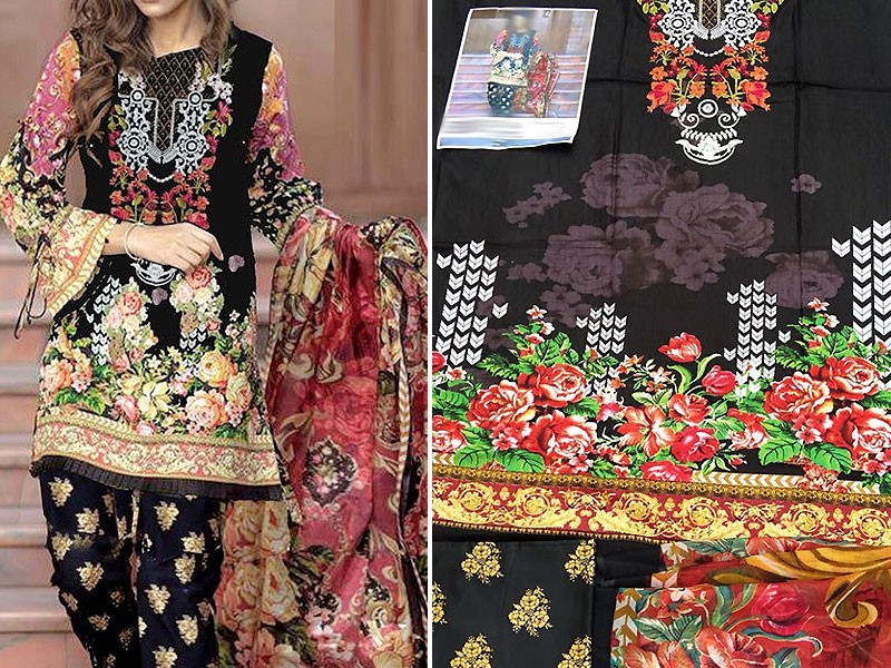 Embroidered Black Linen Dress with Chiffon Dupatta Price in Pakistan