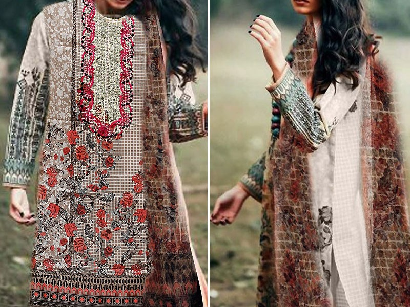 Embroidered Cotton Suit with Net Dupatta