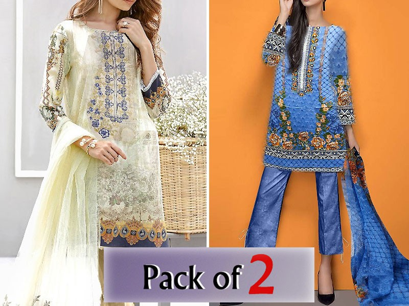 Pack of 2 Embroidered Cotton Suits