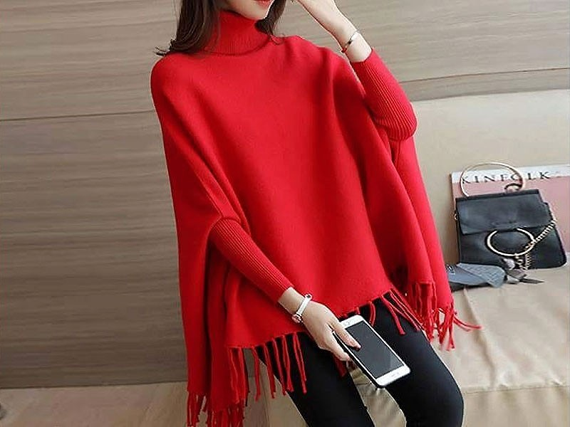 Red Poncho Style Fleece Top