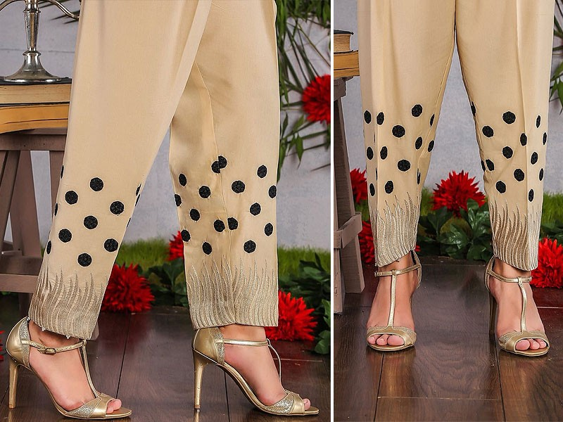 Polka Dot Embroidered Cigarette Pant - Skin