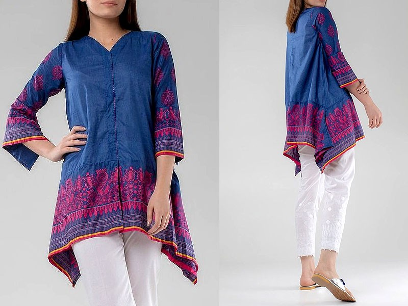 Self Printed Blue Cotton Shirt for Girls