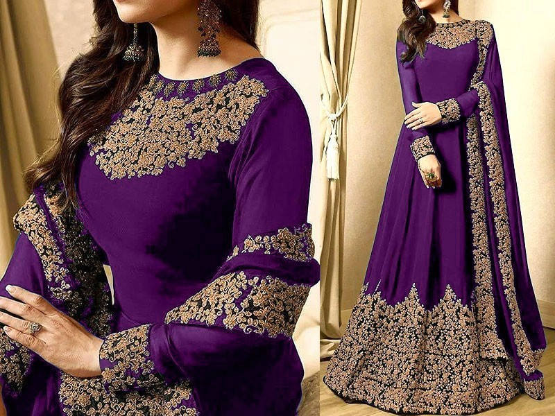 Indian Embroidered Purple Chiffon Maxi