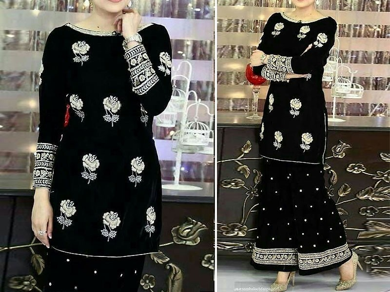 2 Pcs Embroidered Black Chiffon Dress