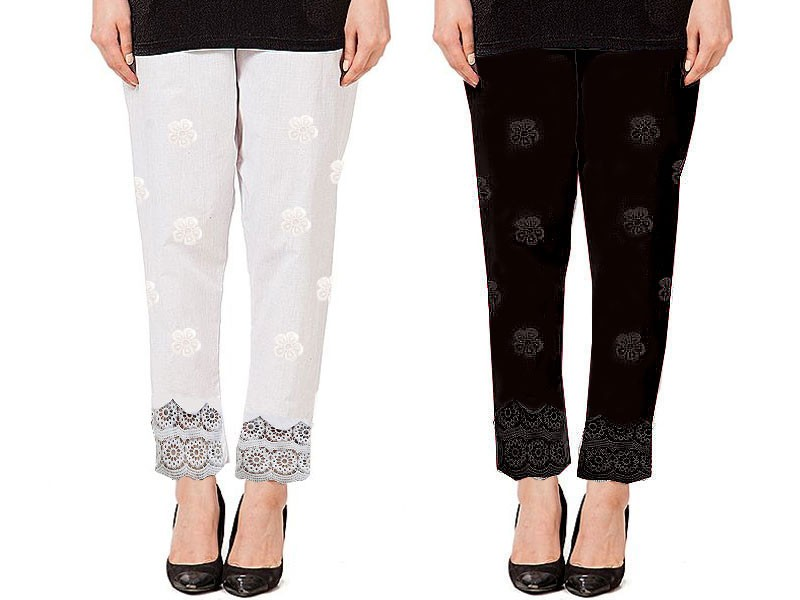 Pack of 2 Cotton Embroidered Cigarette Pants
