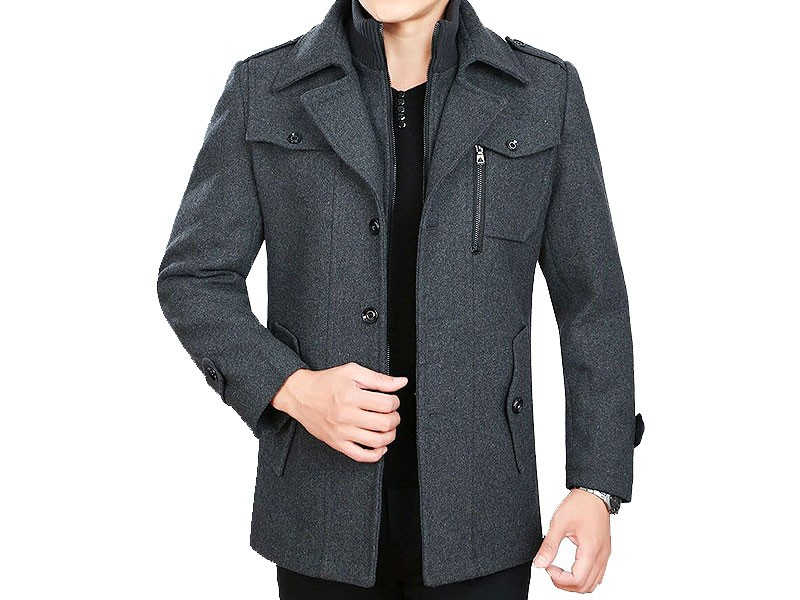Men's Charcoal Fleece Winter Coat