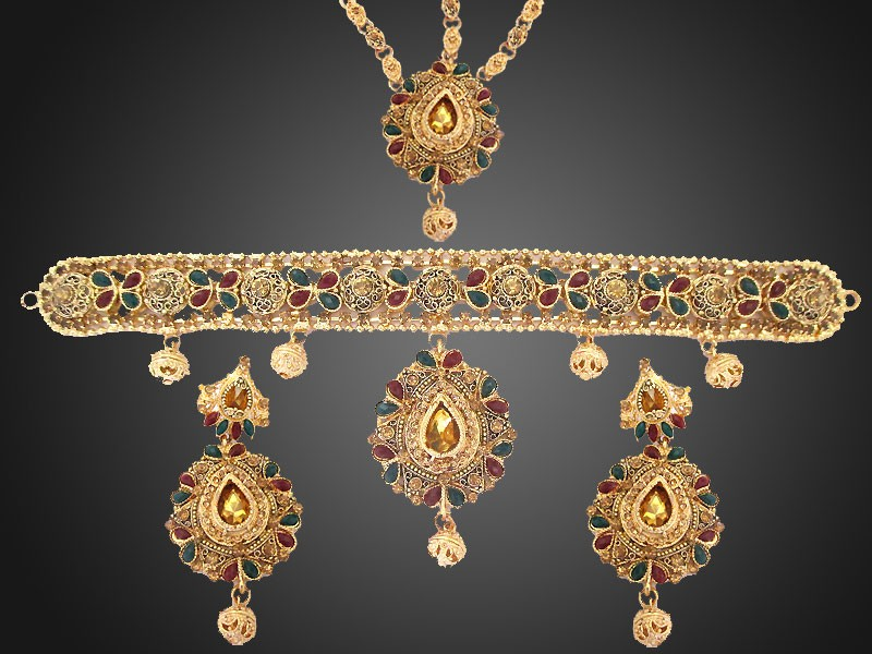 Multicolor Indian Style Bridal Choker Jewelry Set Price In