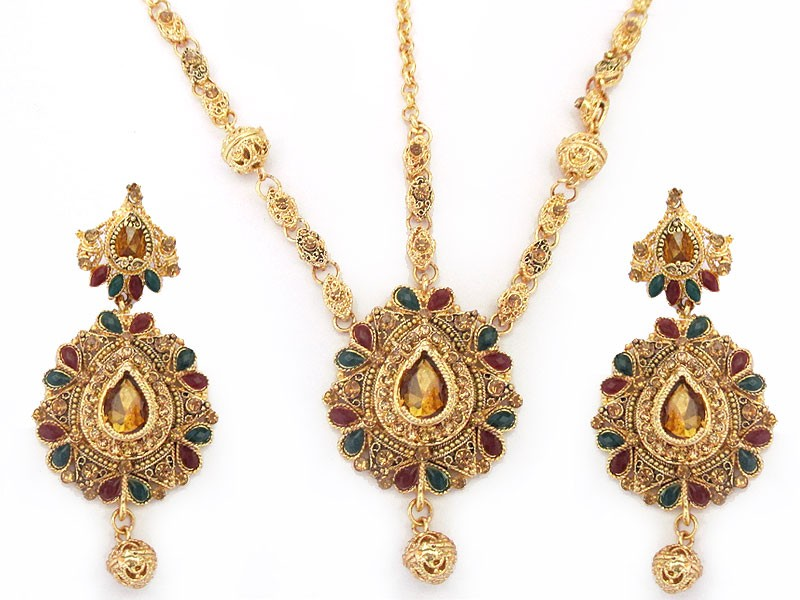 Multicolor Indian Style Bridal Choker Jewelry Set