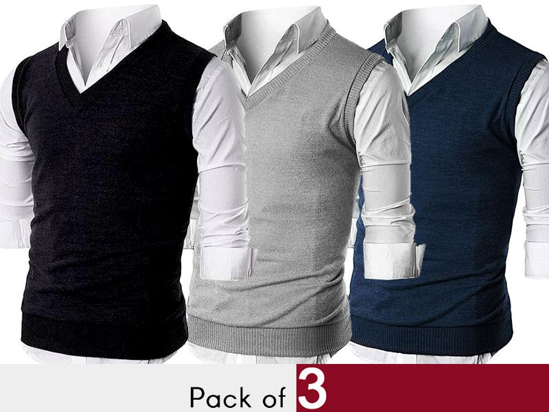 Pack of 3 Men's Sleeveless Sweaters