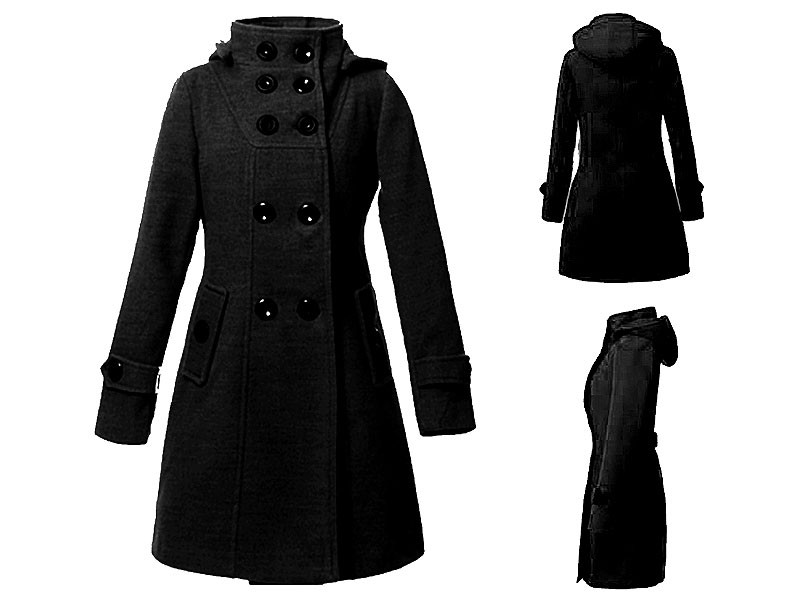 Women's Button Up Fleece Winter Coat - Black Price in Pakistan