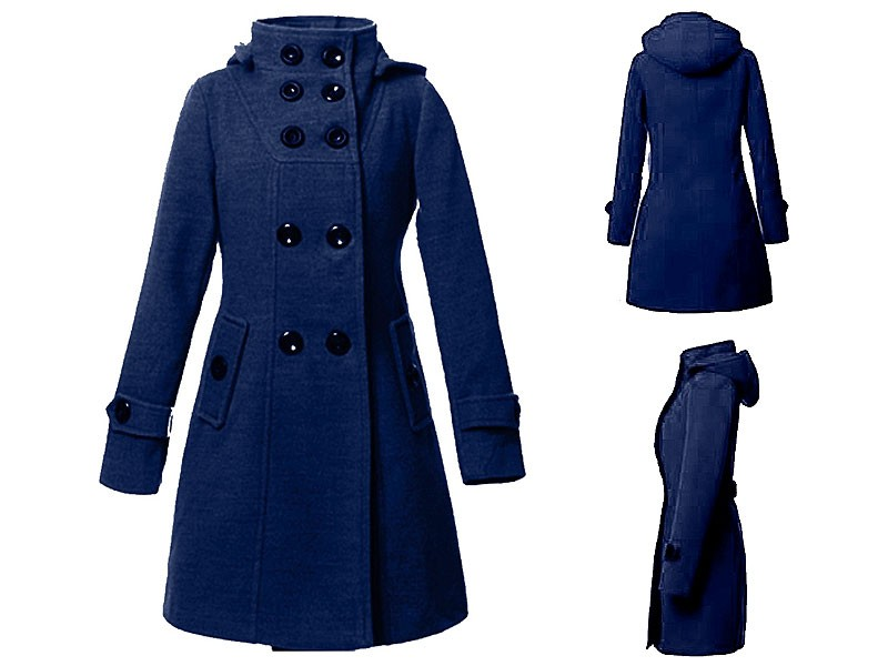 Women's Button Up Fleece Winter Coat - Navy Blue
