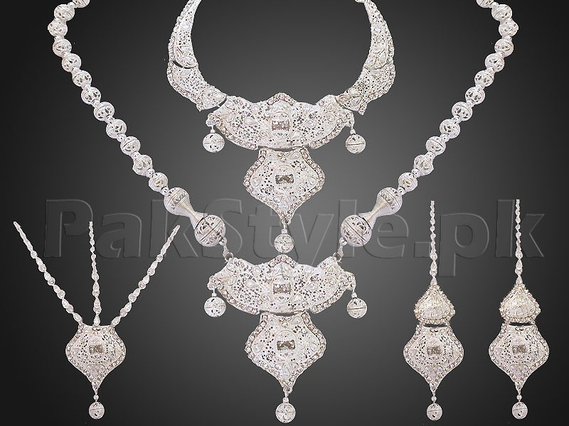 White Double Necklace Bridal Jewelry Set Price in Pakistan