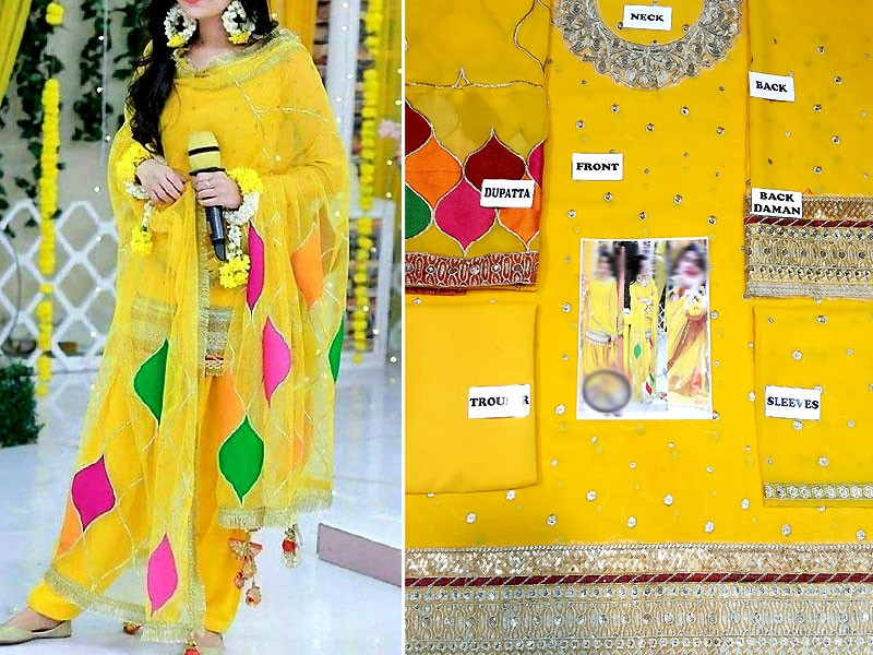 Embroidered Yellow Chiffon Mehndi Dress Price in Pakistan