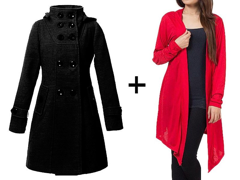 Women's Fleece Coat & Shrug Combo Pack