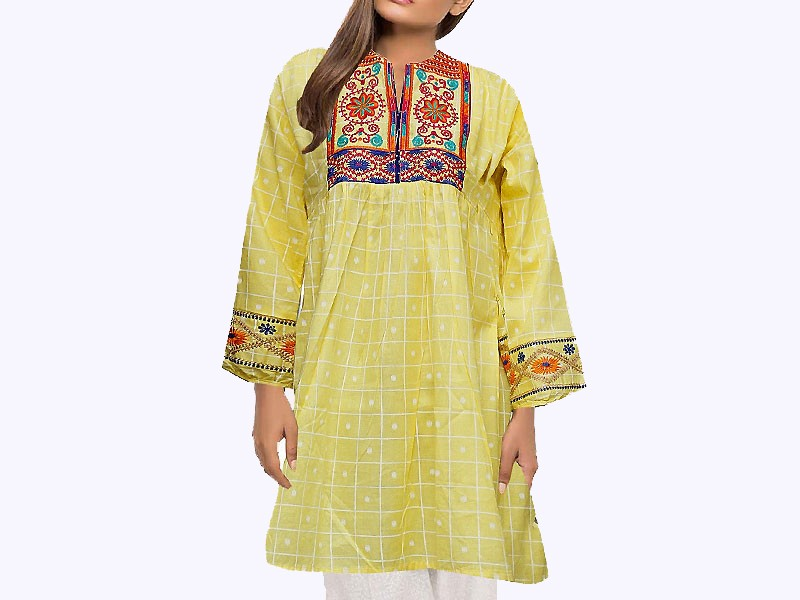 Embroidered Yellow Cotton Kurti for Girls