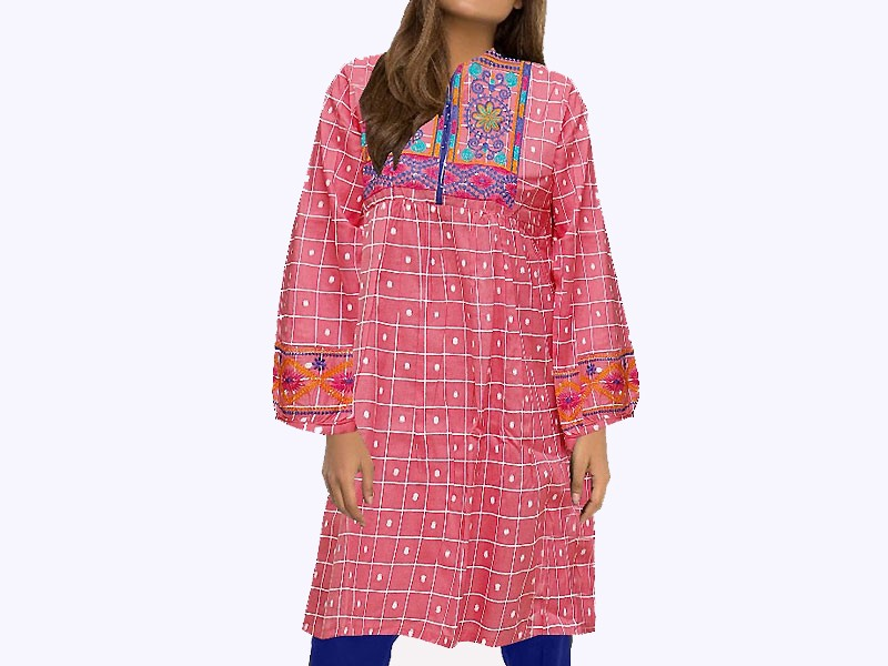 Embroidered Pink Cotton Kurti for Girls