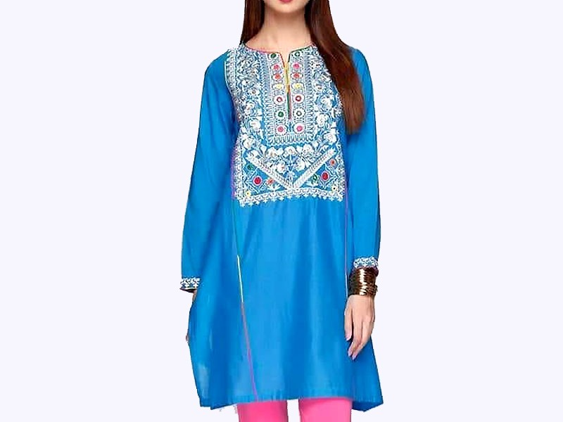 Self Printed Blue Cotton Shirt for Girls Price in Pakistan