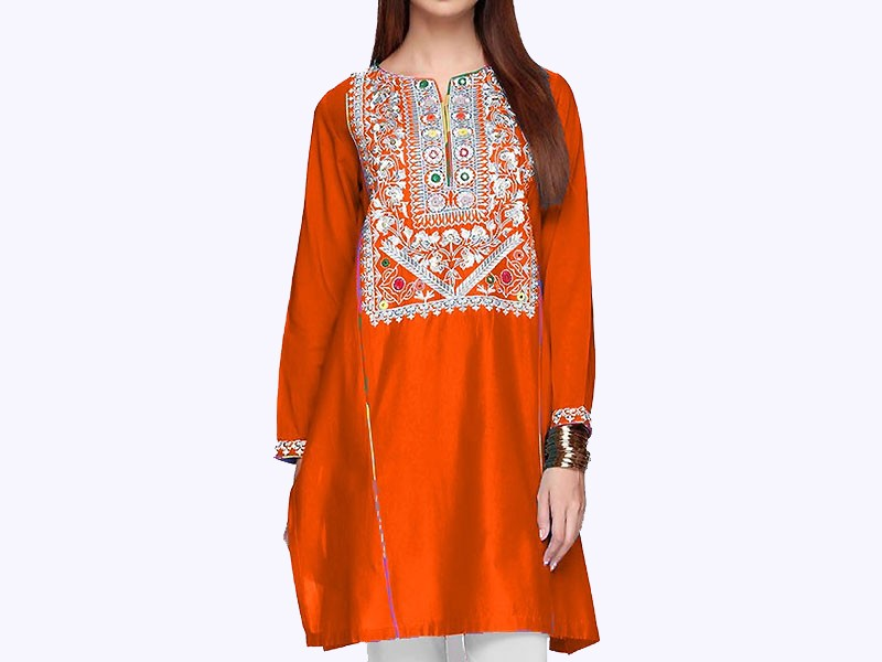 Embroidered Orange Cotton Kurti for Girls