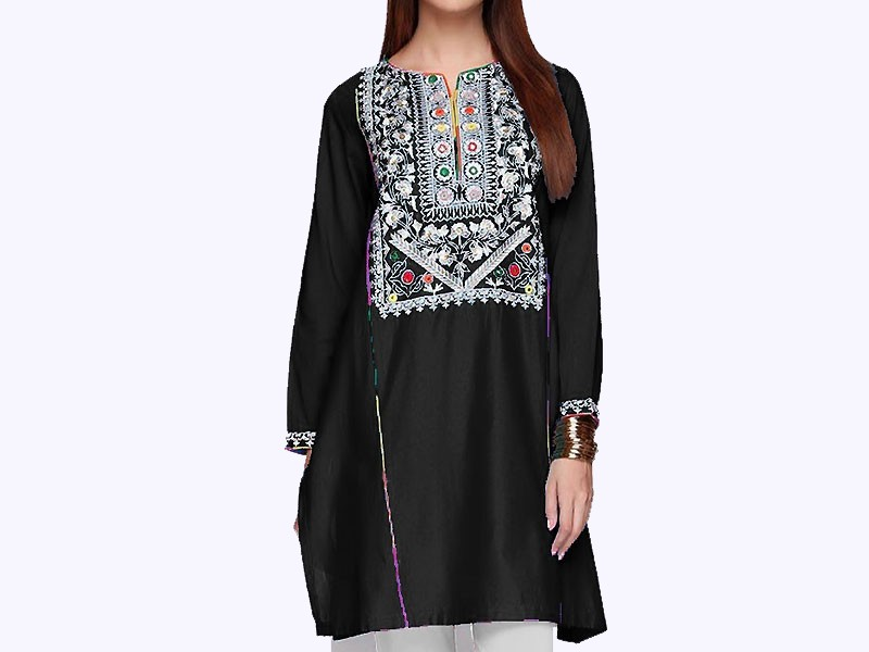 Sindhi Cultural Ajrak Design Applique Work Lawn Dress 3-Pieces Price in Pakistan