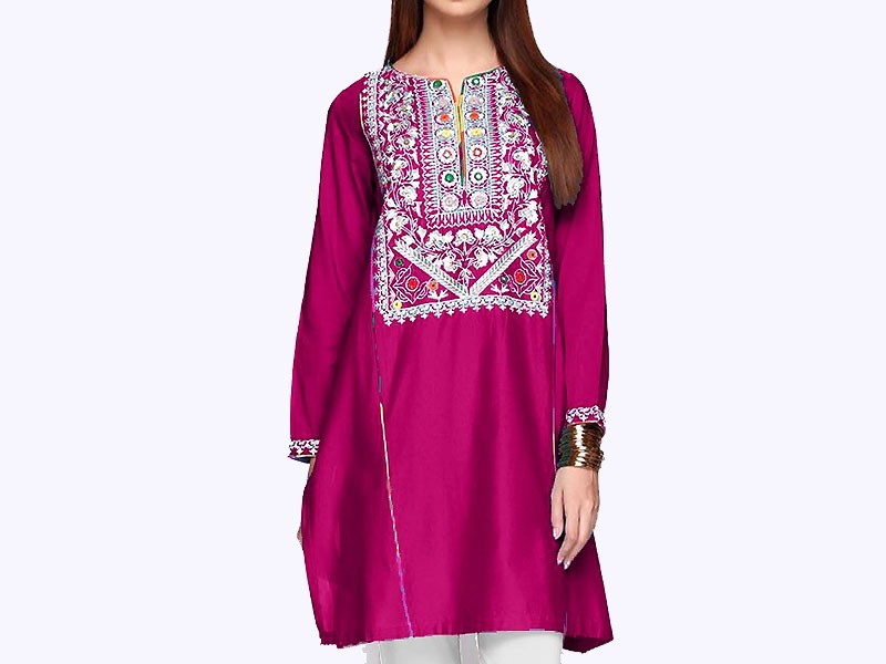Embroidered Purple Cotton Kurti for Girls