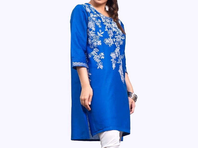 Zari Embroidered Blue Cotton Kurti for Girls