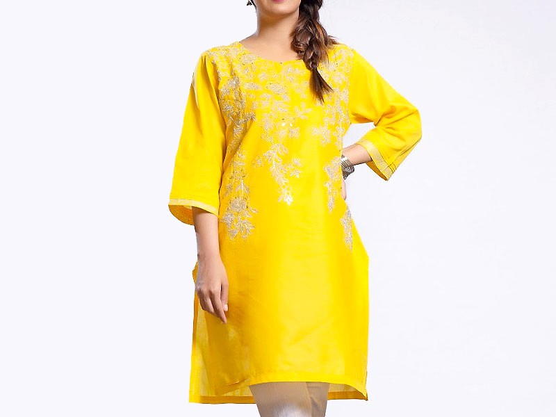 Zari Embroidered Yellow Cotton Kurti for Girls