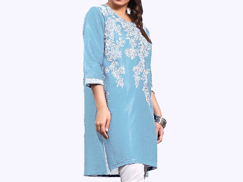 Zari Embroidered Sky Blue Cotton Kurti