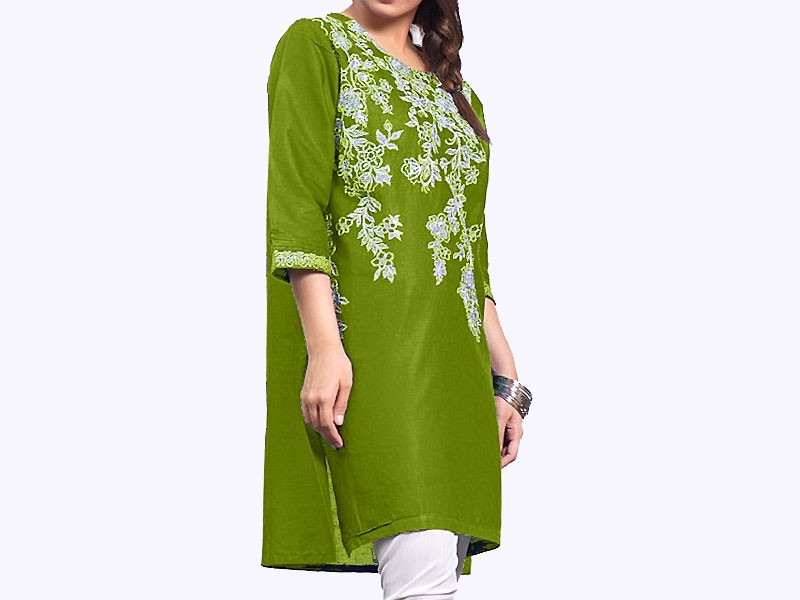 Zari Embroidered Green Cotton Kurti for Girls
