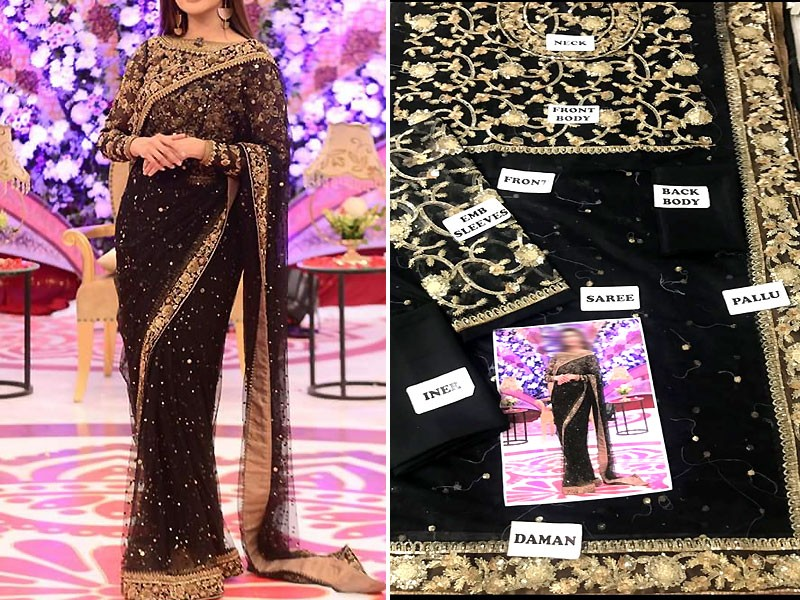 Embroidered Black Chiffon Saree with Inner