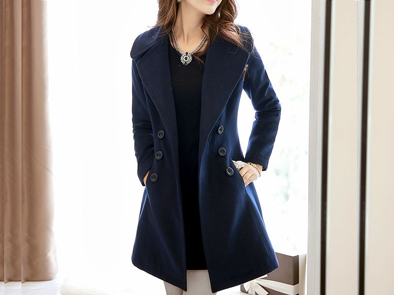 Women's Navy Blue Fleece Winter Coat