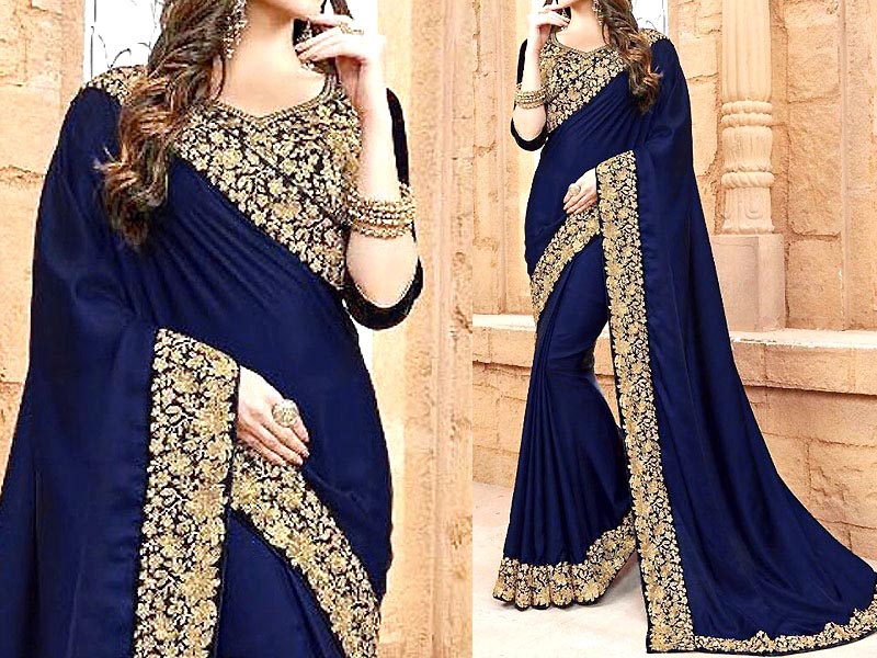 Indian Embroidered Navy Blue Chiffon Saree