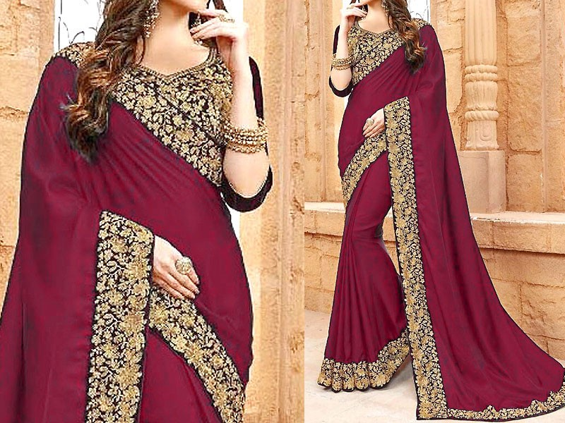 Indian Embroidered Maroon Chiffon Saree