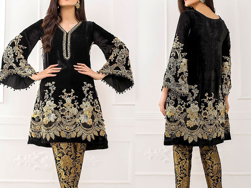 Heavy Dori Work Embroidered Black Chiffon Dress Price in Pakistan