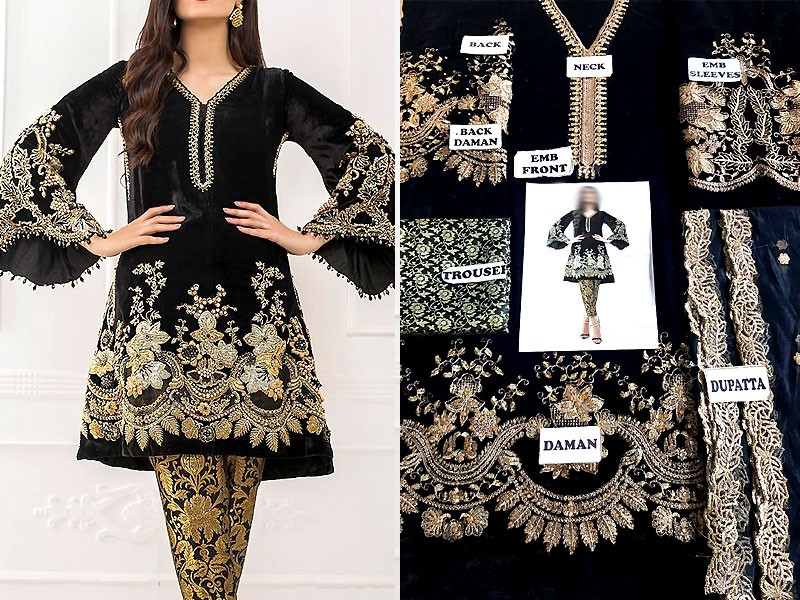 Embroidered Black Velvet Dress with Net Dupatta