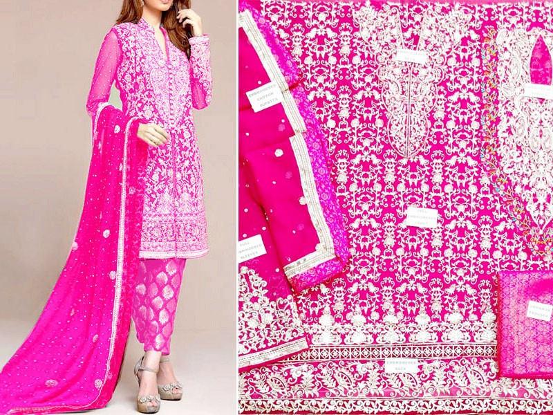 Embroidered Shocking Pink Chiffon Bridal Dress