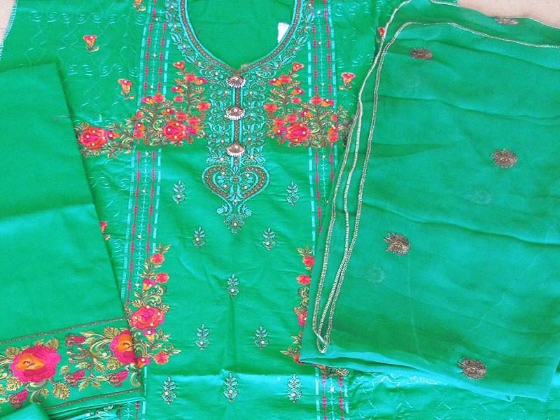 Semi Stitched Embroidered Cotton Dress