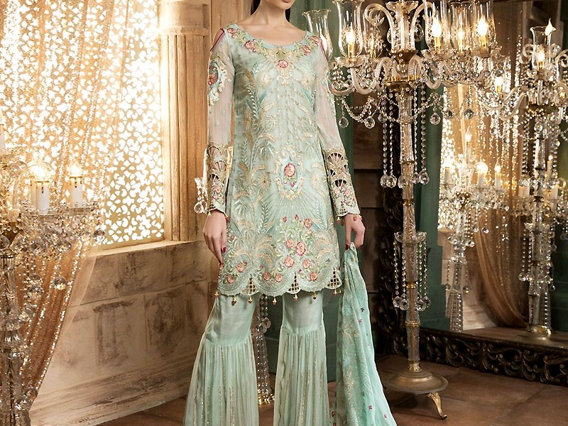 Embroidered Sea Green Chiffon Party Dress