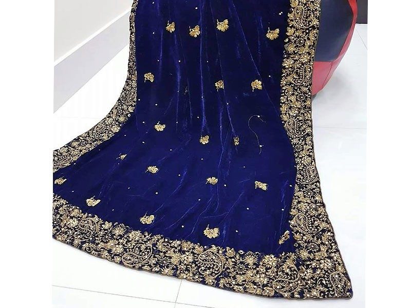Embroidered Navy Blue Velvet Bridal Shawl