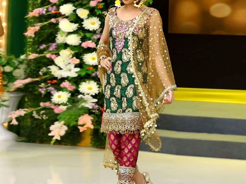 Embroidered Green Chiffon Bridal Dress
