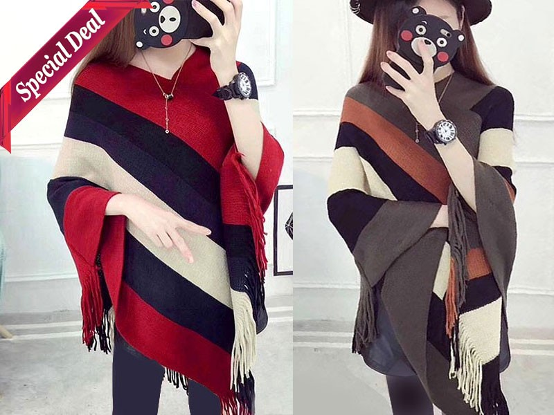 Pack of 2 Women's Winter Wool Cape Shawls