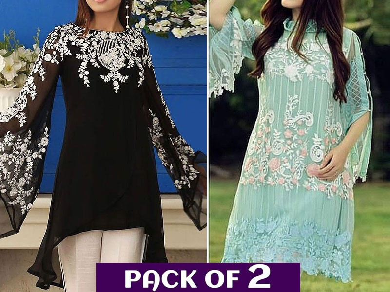 Pack of 2 Unstitched Embroidered Chiffon & Net Kurtis