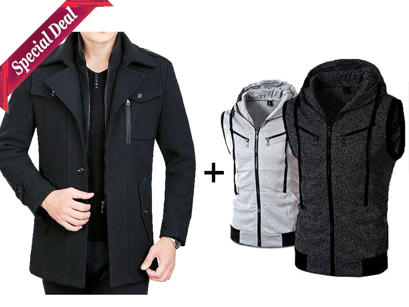 2 Sleeveless Hoodies + 1 Fleece Winter Coat Combo Pack Price in Pakistan