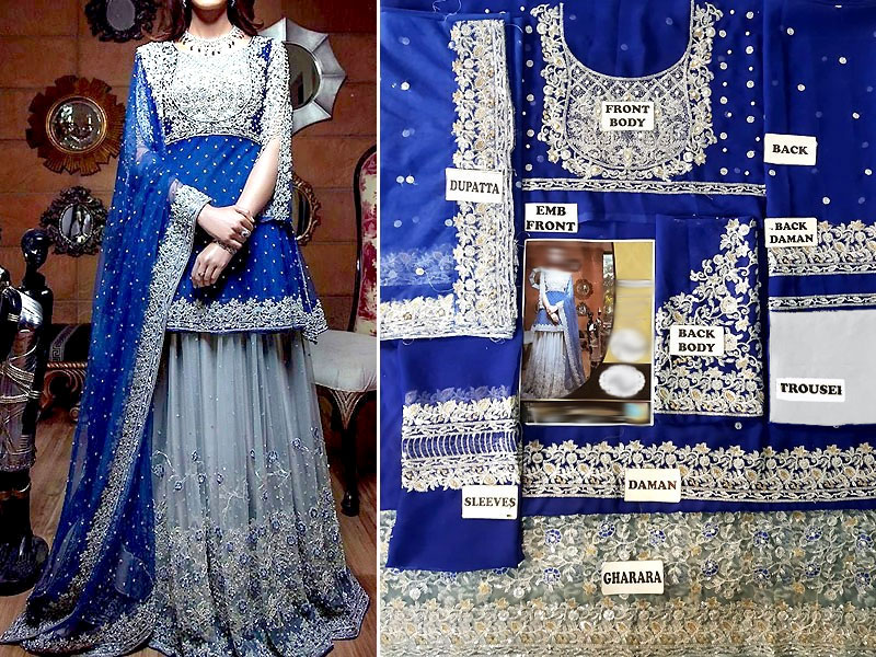 Heavy Embroidered Royal Blue Chiffon Bridal Dress