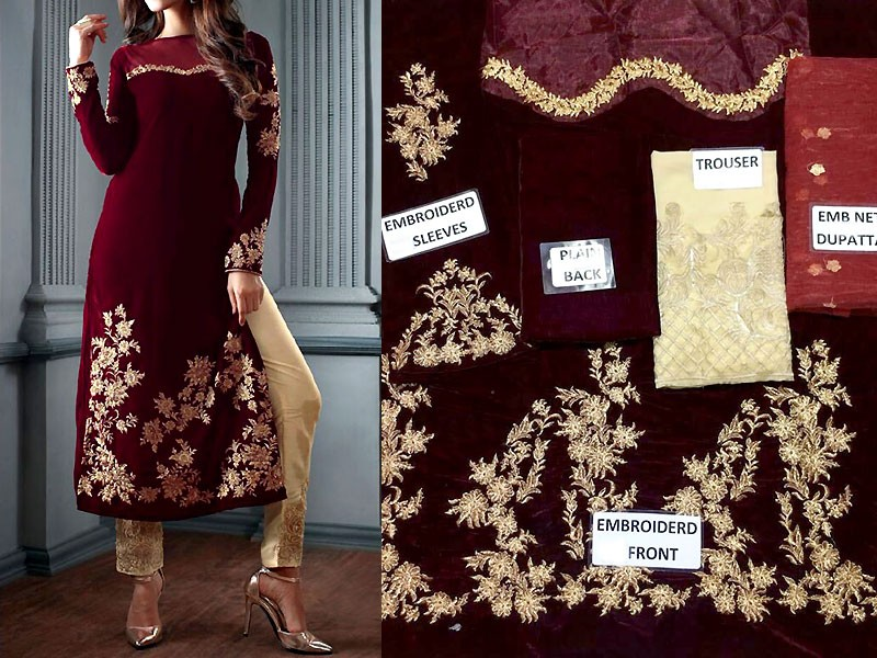 Embroidered Maroon Velvet Dress Price in Pakistan
