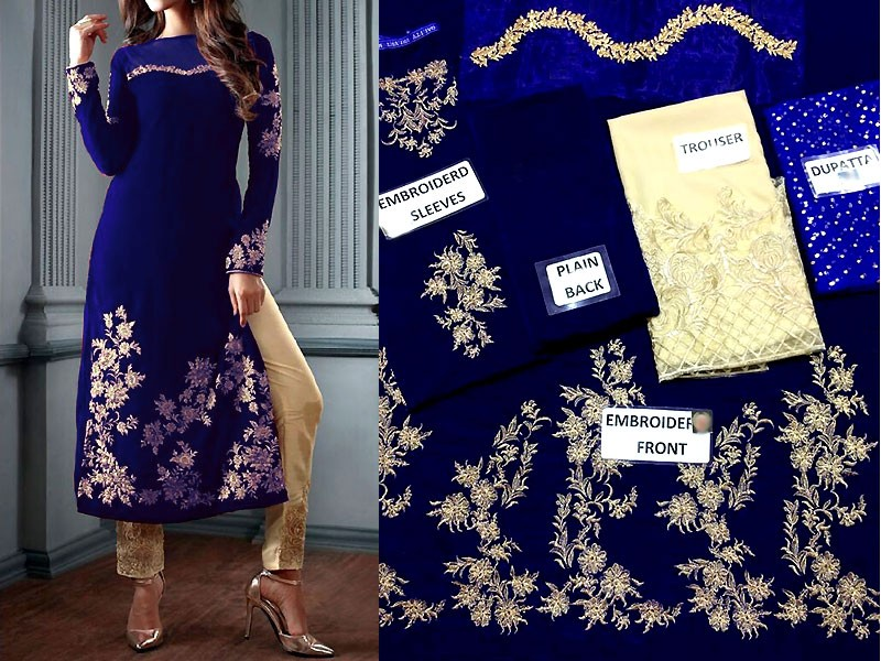 Embroidered Navy Blue Velvet Dress