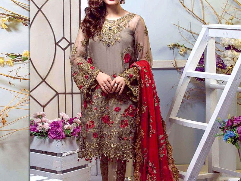 2557010cebd75 Embroidered Chiffon Party Dress with Chiffon Dupatta