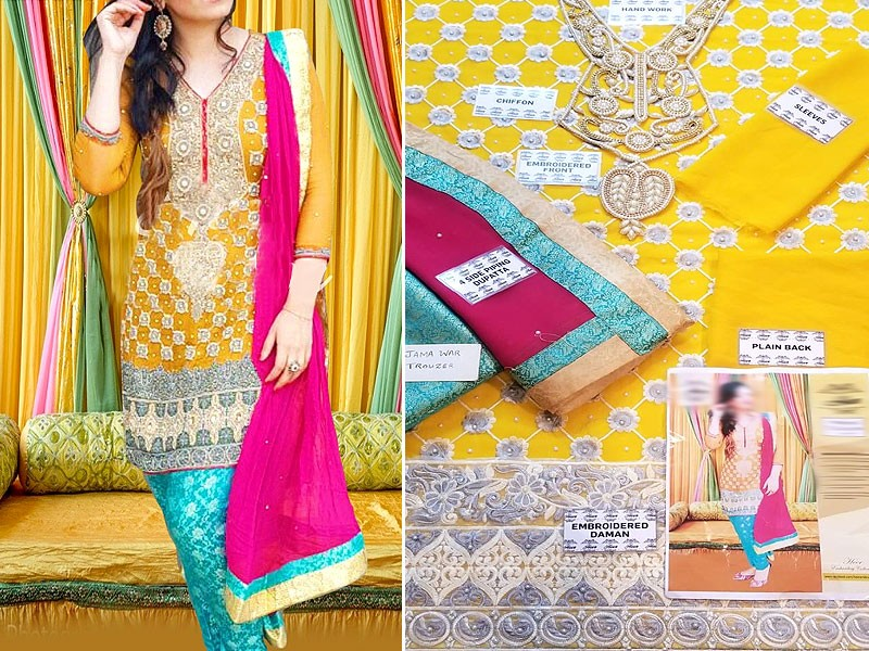 Handwork Embroidered Yellow Chiffon Mehndi Dress Price in Pakistan